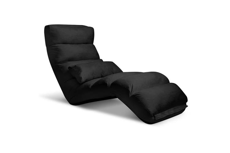 Artiss Lounge Sofa Floor Recliner Futon Couch Folding Chaise Chair Black
