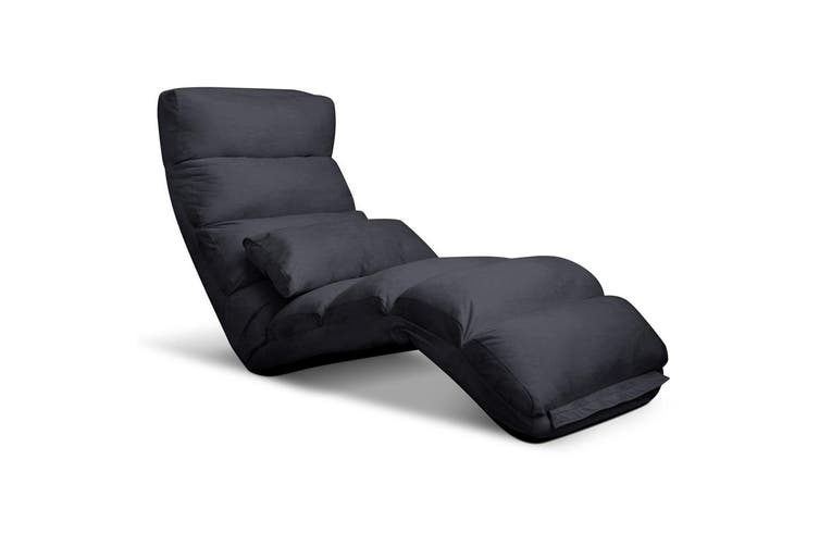 Artiss Lounge Sofa Floor Recliner Couch Folding Chair Fabric Futon Charcoal