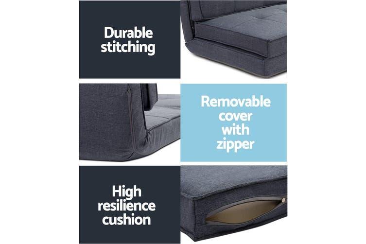 Artiss Floor Sofa Lounge Folding Chair Futon Couch Legless Seat Dark Grey
