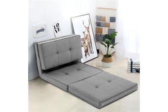Artiss Lounge Sofa Floor Chair Folding Linen Couch Futon Chaise Recliner Grey