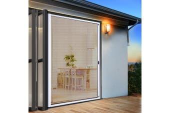 Instahut Fly Screen Retractable Magentic Door Sliding Screens Doors Flyscreen 1.2m x 2.1m Net Mesh Roller Design UV Resistant White