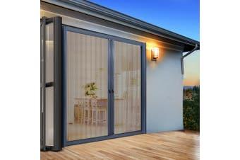 Instahut Fly Screen Retractable Magentic Door Sliding Screens Doors Flyscreen 1.8m x 2.1m Net Mesh Roller Design UV Resistant Grey