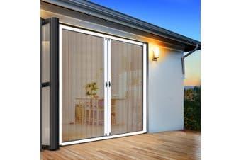 Instahut Fly Screen Retractable Magentic Door Sliding Screens Doors Flyscreen 1.8m x 2.1m Net Mesh Roller Design UV Resistant White