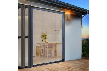 Instahut Fly Screen Retractable Magentic Door Sliding Screens Doors Flyscreen 1.2m x 2.1m Net Mesh Caterpillar Track UV Resistant Grey