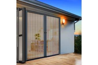Instahut Fly Screen Retractable Magentic Door Sliding Screens Doors Flyscreen 1.8m x 2.1m Net Mesh Caterpillar Track UV Resistant Grey