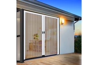 Instahut Fly Screen Retractable Magentic Door Sliding Screens Doors Flyscreen 1.8m x 2.1m Net Mesh Caterpillar Track UV Resistant White