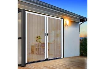 Instahut Fly Screen Retractable Magentic Door Sliding Screens Doors Flyscreen 2.3m x 2.4m Net Mesh Caterpillar Track UV Resistant White