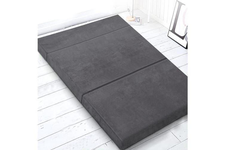 Giselle Bedding Double Folding Foam Mattress Portable Sofa Bed Mat Lounge Grey