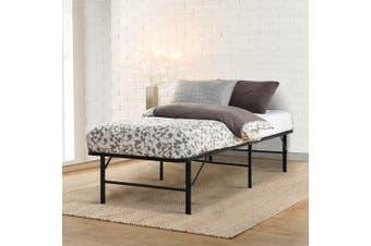 Artiss King Single Folding Bed Frame Metal Portable Black Platform