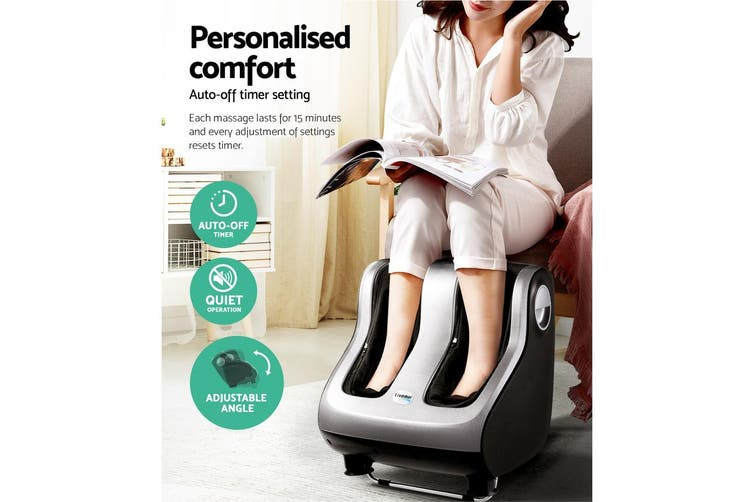 Livemor Foot Massager Electric Leg Massagers Machine Ankle Calf 3D Roller Kneading Rolling Exercising Muscle Relaxing Soothing Relief Home Charcoal Grey