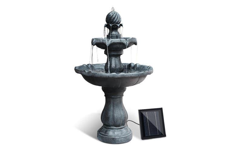 Gardeon Solar Water Fountain 3 Tier Pump Indoor Outdoor Fountains Rechargable Battery Panel Black