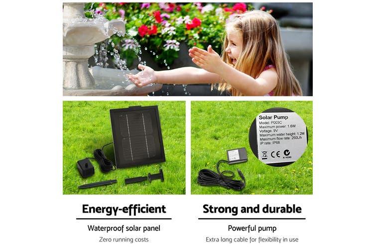 Gardeon Solar Water Fountain 3 Tier Pump Indoor Outdoor Fountains Rechargable Battery Panel Ivory