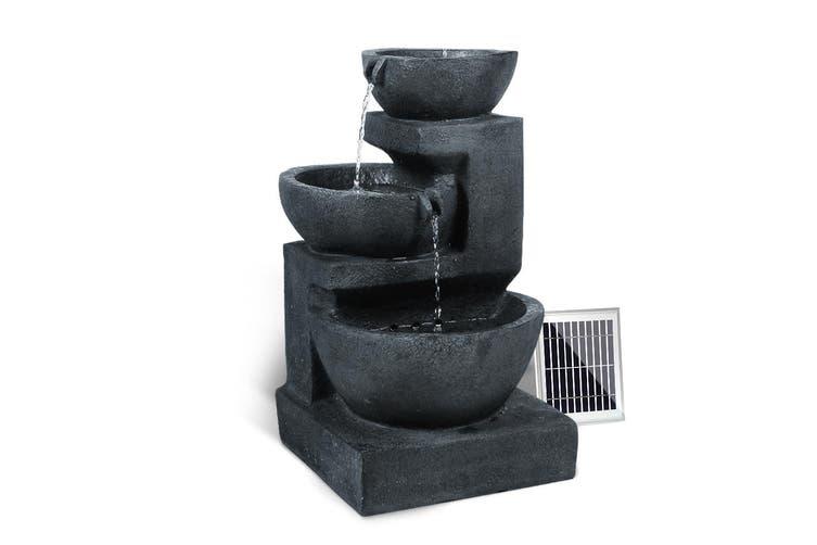 Gardeon Solar Water Fountain Pump 3 Level Cascade Indoor Outdoor Cascading Fountains Rechargable Battery Panel Blue