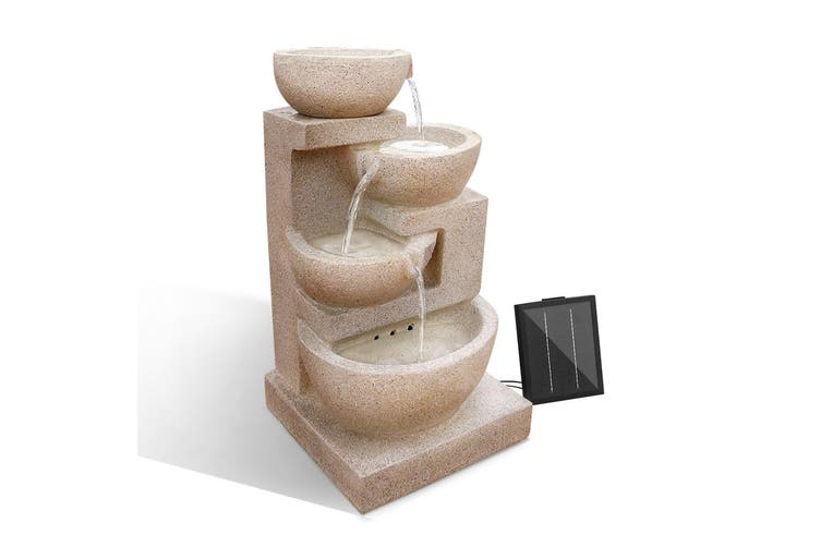 Gardeon Solar Water Fountain Pump 4 Level Cascade Indoor Outdoor Cascading Fountains Rechargable Battery Panel Sand