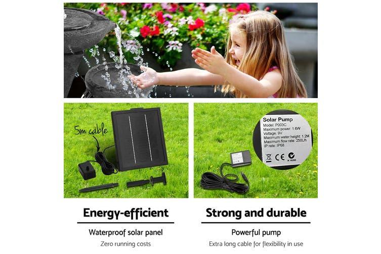 Gardeon Solar Water Fountain Pump  Cascade Indoor Outdoor Cascading Fountains Rechargable Battery Panel Black