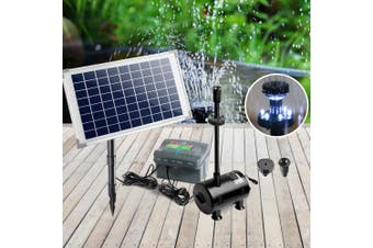Gardeon Solar Pond Pump Water Fountain Pump Kit LED Lights Power Pool Outdoor Submersible 50W Power 4 Spray Patterns