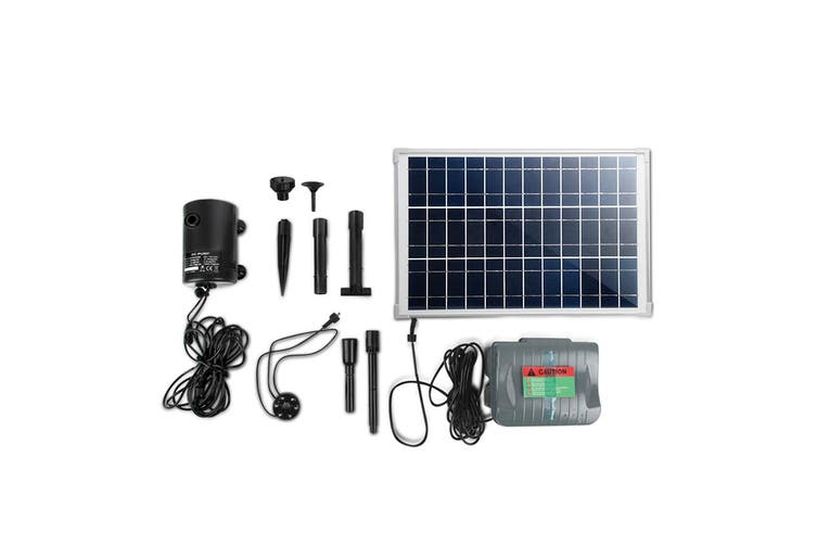 Gardeon Solar Pond Pump Water Fountain Pump Kit LED Lights Power Pool Submersible Outdoor 100W Power 4 Spray Patterns