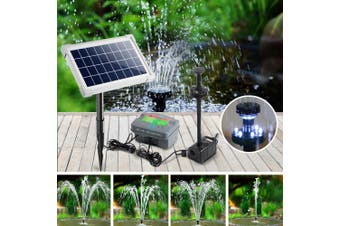 Gardeon Solar Pond Pump Water Fountain Pump Kit LED Lights Power Pool Submersible Outdoor 25W Power 4 Spray Patterns