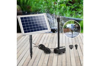 Gardeon Solar Pond Pump Water Fountain Pump Kit Power Pool Outdoor Submersible 20W Power 2 Spray Patterns
