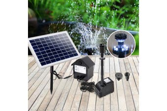 Gardeon Solar Pond Pump Water Fountain Pump Kit LED Light Power Pool Outdoor Submersible 60W Power 4 Spray Patterns