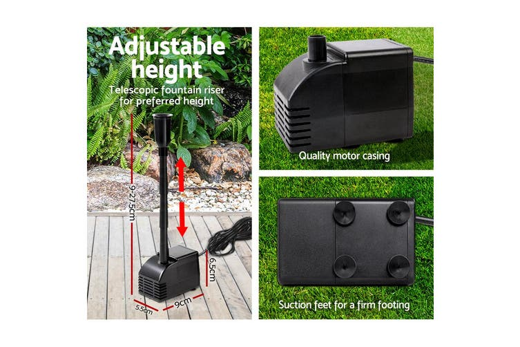 Gardeon Solar Pond Pump Water Fountain Pump Kit Power Pool Outdoor Submersible 110W Power 2 Spray Patterns