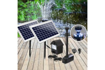 Gardeon Solar Pond Pump Water Fountain Pump Kit LED Light Power Pool Outdoor Submersible 110W Power 2 Spray Patterns
