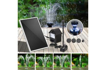 Gardeon Solar Pond Pump Water Fountain Pump Kit LED Light Power Pool Outdoor Submersible 30W Power 6 Spray Patterns
