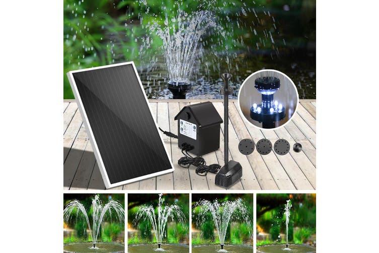 Gardeon Solar Pond Pump Water Fountain Pump Kit LED Light Power Pool Outdoor Submersible 30W Power 6 Spray Patterns