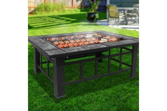 Grillz Outdoor Fire Pit BBQ Grill Table Garden Patio Camping Fireplace