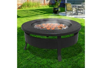 Grillz Outdoor Fire Pit BBQ Table Grill Garden Wood Oven Fireplace Ring