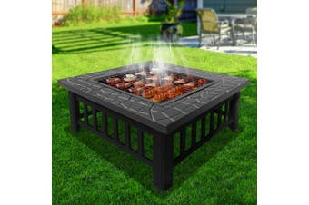 Grillz Outdoor Fire Pit BBQ Table Grill Garden Wood Burning Fireplace Stove