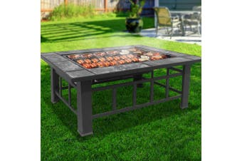 Grillz 3 IN 1 Fire Pit Stove BBQ Grill Table Ice Pits Patio Fireplace