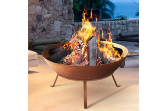 Grillz Fire Pit Charcoal Camping Rustic Burner Garden Outdoor Iron Bowl 70CM