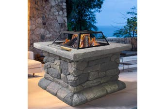 Grillz Fire Pit Table Outdoor BBQ Charcoal Camping Garden Rustic Fireplace