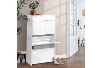 Artiss Shoe Cabinet Shoes Organiser Storage Rack High Gloss White Shelf 24 Pairs