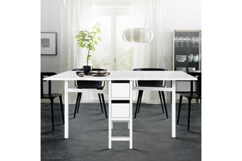 Artiss Dining Table Extendable Folding Tables Drawers Storage White Restaurant