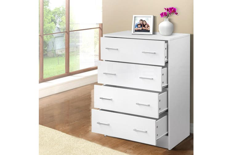 Artiss 4 Chest of Drawers Tallboy Dresser Bedroom Storage Cabinet Table White