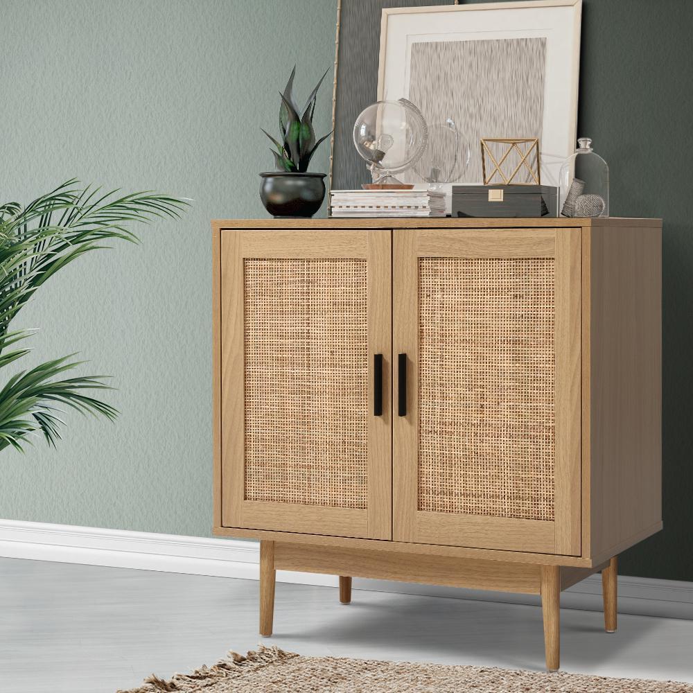 Picture of: Artiss Rattan Buffet Sideboard Cabinet Storage Hallway Table Kitchen Cupboard Matt Blatt