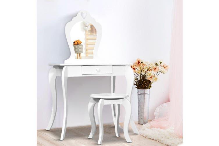 Artiss Kids Vanity Dressing Table Stool Set Mirror Drawer Children Makeup Wooden