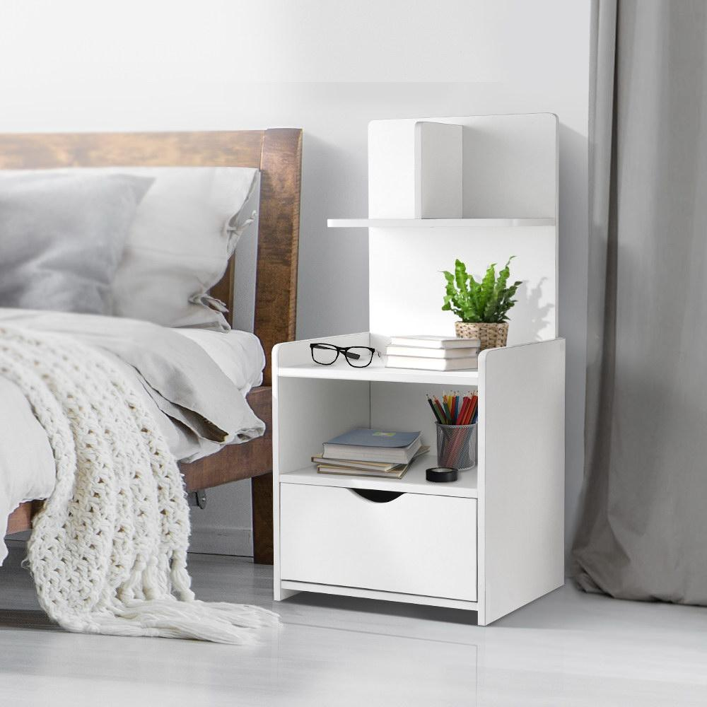 Picture of: Artiss Bedside Tables Drawers Side Table Storage White Bedroom Nightstand Lamp Matt Blatt
