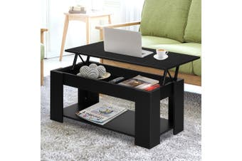 Artiss Lift Up Top Coffee Table Tea Side Interior Storage Space Shelf Black
