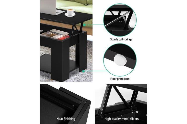 Artiss Lift Up Top Coffee Table Tea Side Interior Storage Space Shelf Black