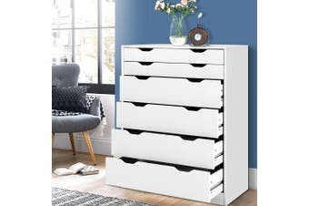 Artiss 6 Chest of Drawers Tallboy Dresser Storage Cabinet White Bedroom