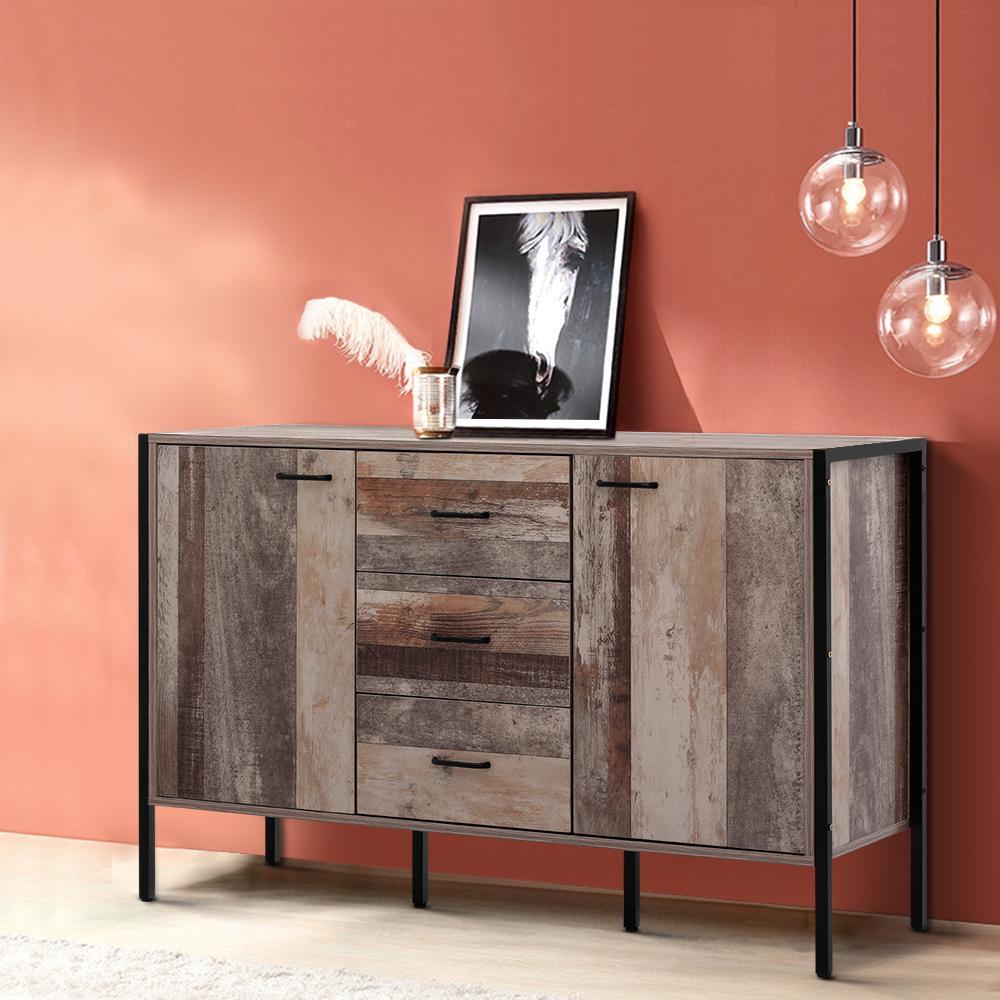 Picture of: Artiss Buffet Sideboard Cabinet Storage Kitchen Hallway Table Industrial Rustic Matt Blatt
