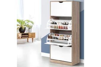 Artiss Shoe Cabinet Shoes Storage Rack Organiser 36 Pairs Wooden Drawer Cupboard