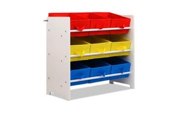 Artiss 3-Tier 9 Bins Kids Toy Box Organiser Storage Rack Cabinet Wooden Bookcase