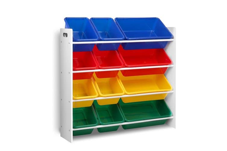 Artiss 12 Plastic Bins Kids Toy Organiser Box Bookshelf Storage Rack Cabinet