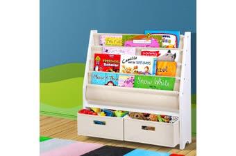 Artiss 4 tier Kids Bookshelf Wooden Bookcase Children Toy Organiser Display Rack