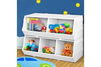 Keezi Kids Toy Box Bookshelf Storage Cabinet Stackable Bookcase Shelf Organiser