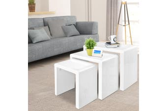 Artiss 3 Nest of Tables Coffee Table Side Display Shelf High Gloss White